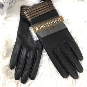 Isotoner women's leather gloves NWT brown Sz 7